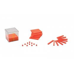 7024 Recipiente cúbico de 1 dm3 con placas, reglas y cubo